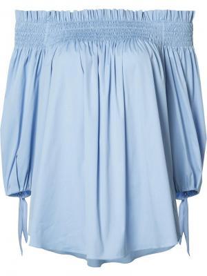 Блузка с открытыми плечами Caroline Constas. Цвет: синий