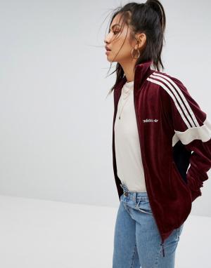 Adidas Велюровая спортивная куртка бордового цвета Originals. Цвет: красный