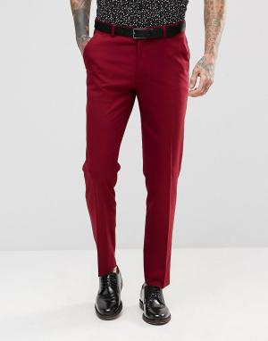 ASOS Красные брюки скинни под смокинг. Цвет: красный