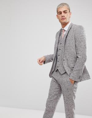 ASOS Серый пиджак скинни из ткани с добавлением шерсти. Цвет: розовый