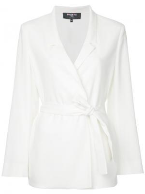 Пиджак с поясом Paule Ka. Цвет: белый
