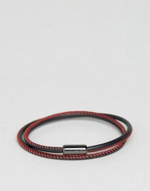 BOSS Черно-красный кожаный браслет в несколько оборотов by Hugo. Цвет: черный