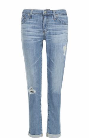 Укороченные джинсы-скинни с потертостями Ag. Цвет: голубой