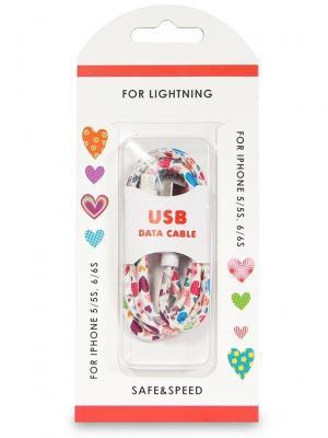 Дата-кабель lightning/USB экокожа сердца IQ Format. Цвет: белый