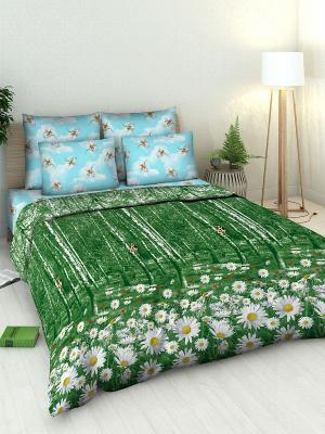 Комплект постельного белья из бязи 2 спальный Василиса. Цвет: темно-зеленый, голубой