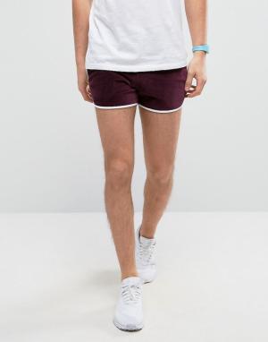ASOS Бордовые велюровые шорты для бега. Цвет: красный
