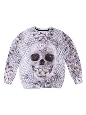 Свитшот Diamond Skull FUSION. Цвет: светло-бежевый, белый, молочный