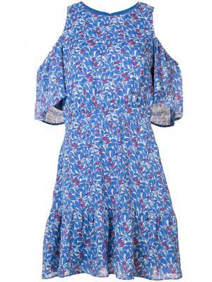Платье с цветочным узором Tanya Taylor. Цвет: синий