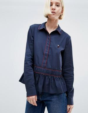 Ganni Рубашка с добавлением хлопка Norwich. Цвет: темно-синий