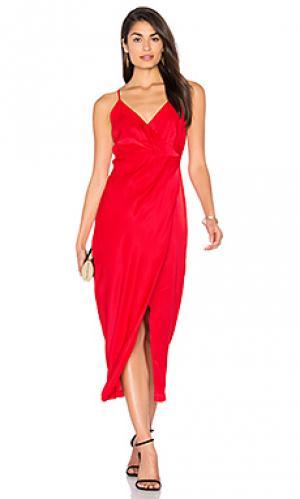 Платье с разрезом bella Bardot. Цвет: красный