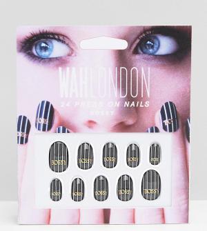 WAH Накладные ногти London & ASOS. Цвет: черный