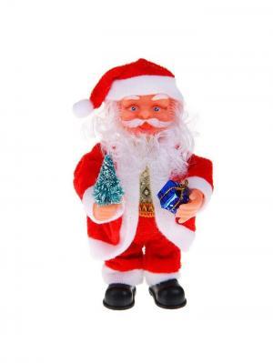 Дед Мороз музыкальный с елкой и подарком (англ.мелодия),16см А М Дизайн. Цвет: красный
