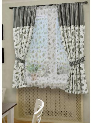 Комплект штор с тюлем SANPA HOME COLLECTION. Цвет: серый, бежевый