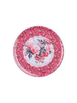 Поднос кухонный круглый ?36 см,  Букет роз Orval. Цвет: красный, белый, серый