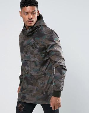 SikSilk Камуфляжная куртка-ветровка без застежки. Цвет: зеленый