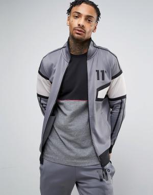 11 Degrees Серая спортивная куртка из полиэстера. Цвет: серый