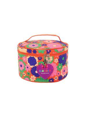 Косметичка Цветы на оранжевом EL CASA. Цвет: оранжевый, розовый, синий, салатовый