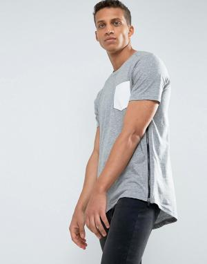 Loyalty & Faith Длинная футболка с карманом и молнией and. Цвет: серый