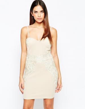 Girl In Mind Облегающее платье со вставкой кроше. Цвет: бежевый