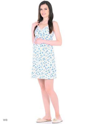 Ночная сорочка Hunny Mammy. Цвет: голубой, белый