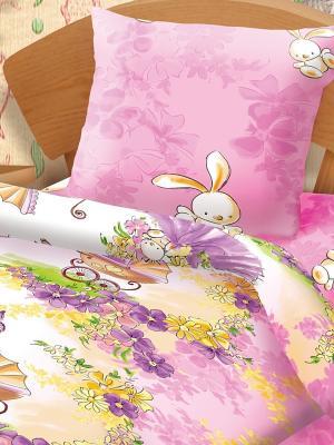 Комплект постельного белья Девочка с зайкой Непоседа. Цвет: бледно-розовый