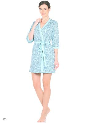Комплект домашней одежды ( халат, ночная сорочка) HomeLike. Цвет: бирюзовый, серый