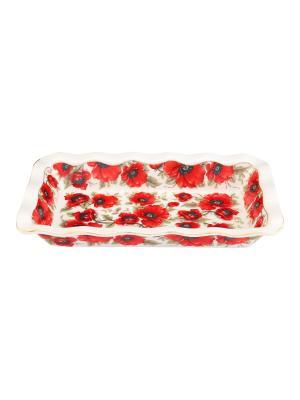 Блюдо для заливного Маки Elan Gallery. Цвет: красный, белый