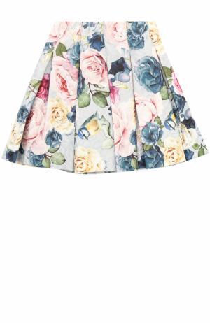 Мини-юбка с защипами и принтом Monnalisa. Цвет: серый
