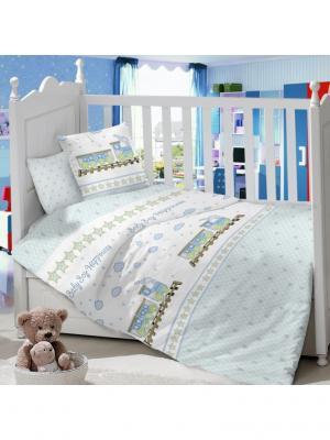 Комплект постельного белья в детскую кроватку из сатина (простыня на резинке) Ивбэби. Цвет: серо-голубой, молочный, оливковый