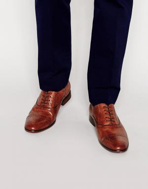 Standard Fortyfive Кожаные оксфордские туфли-броги. Цвет: рыжий