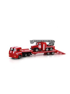 Набор Технопарк металлический Камаз  транспортер с пожарной машина 7см. Цвет: красный, серый, черный