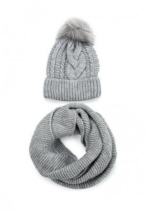 Комплект шапка и снуд Fete. Цвет: серый