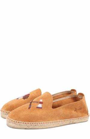 Замшевые эспадрильи с вышивкой Manebi. Цвет: светло-коричневый