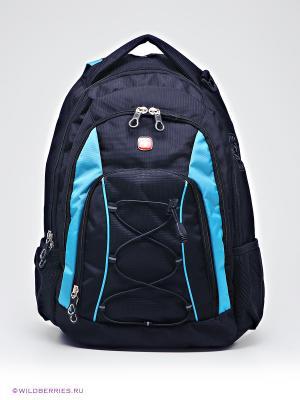 Рюкзак WENGER. Цвет: черный, голубой