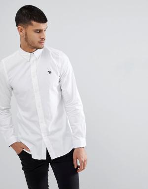 PS Paul Smith Белая приталенная рубашка с логотипом. Цвет: белый