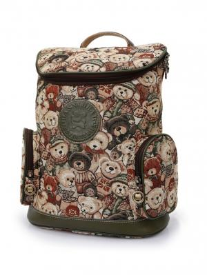 Рюкзак женский Danny Bear. Цвет: зеленый, светло-коричневый
