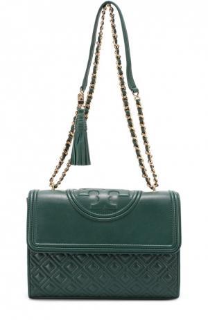 Кожаная сумка Fleming на цепочке Tory Burch. Цвет: зеленый