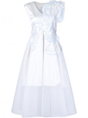 Многослойное платье А-образного кроя Xiao Li. Цвет: белый