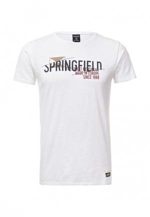 Футболка Springfield. Цвет: белый