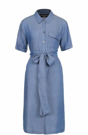 Джинсовое платье-рубашка с поясом Pietro Brunelli. Цвет: голубой