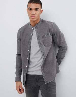 ASOS Приталенная джинсовая рубашка с воротником на пуговице DESIGN. Цвет: серый