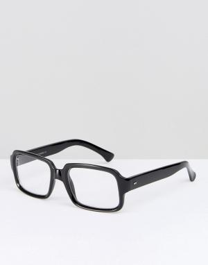 Reclaimed Vintage Черные квадратные очки с прозрачными стеклами. Цвет: черный