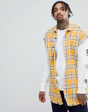 ASOS Oversize-рубашка без рукавов в клетку DESIGN. Цвет: желтый