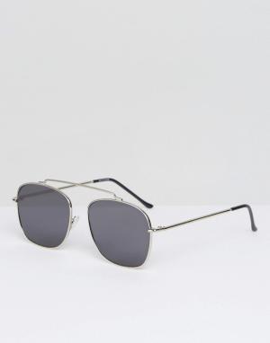 Spitfire Серебристые солнцезащитные очки-авиаторы с черными стеклами B. Цвет: серебряный