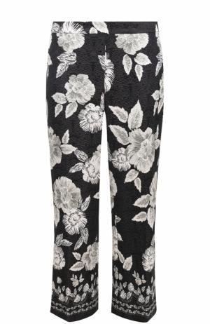 Укороченные расклешенные брюки с цветочным принтом St. John. Цвет: черно-белый