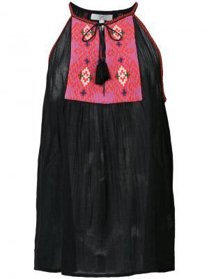 Блузка с вышитой панелью Joie. Цвет: чёрный