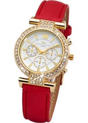Часы со стразами (красный/золотистый) bonprix. Цвет: красный/золотистый