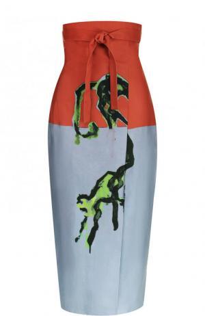 Юбка-карандаш с принтом и завышенной талией Stella Jean. Цвет: разноцветный