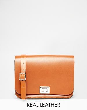 Leather Satchel Company Светло-коричневая сумка через плечо. Цвет: рыжий