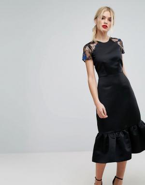Closet London Декорированное платье-футляр Premium. Цвет: черный